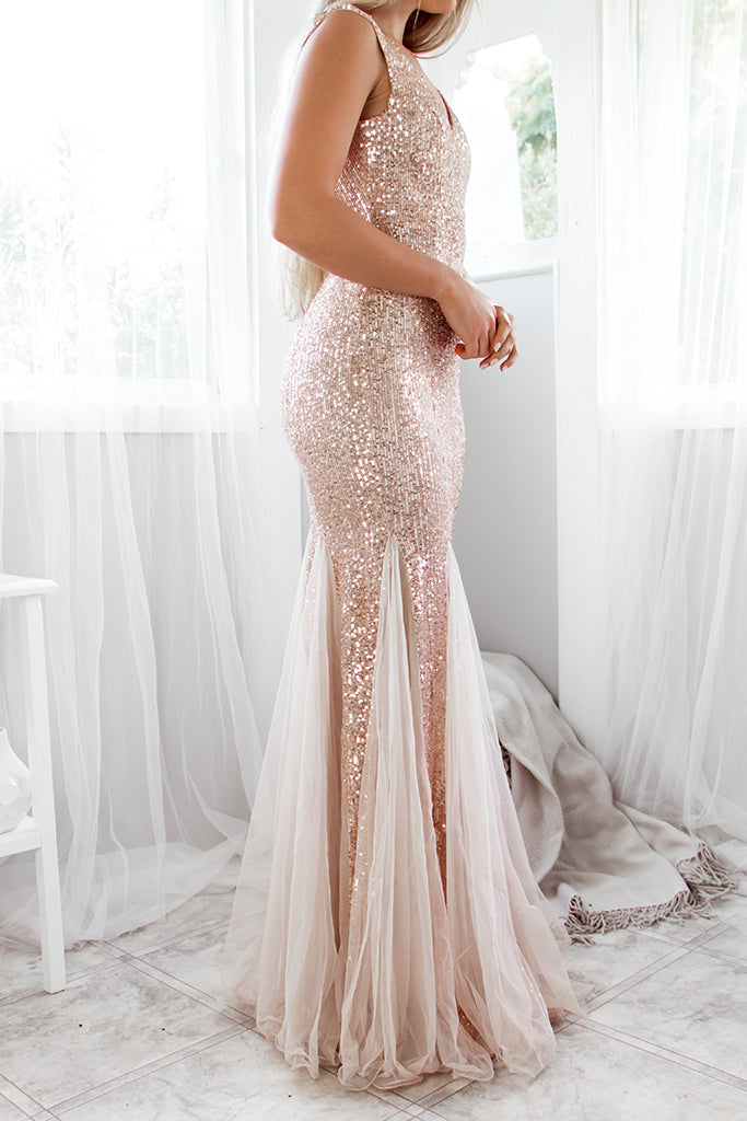 Pandora Sequin Gown - Rose Gold