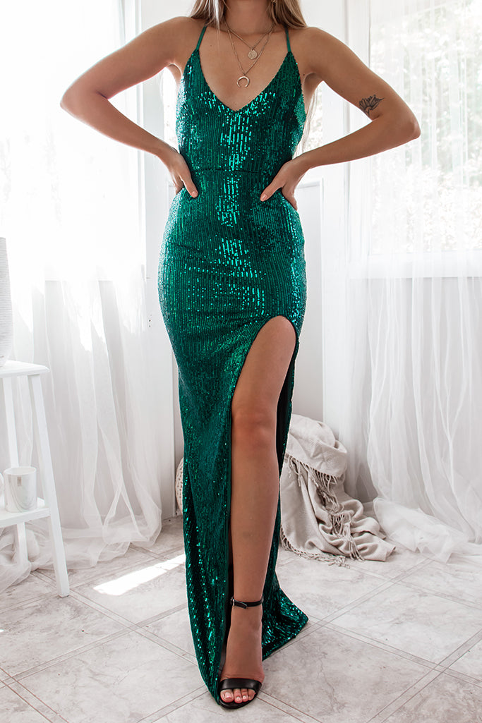 Milan Sequin Gown - Emerald