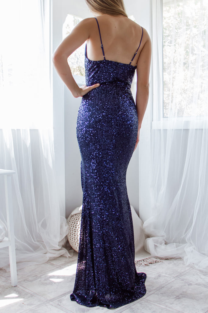 Liana Sequin Gown - Navy