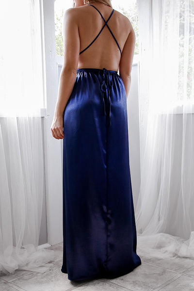Everly Satin Gown - Navy