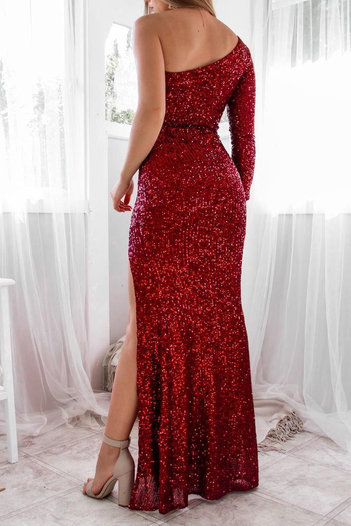 Coletta Sequin Gown - Ruby