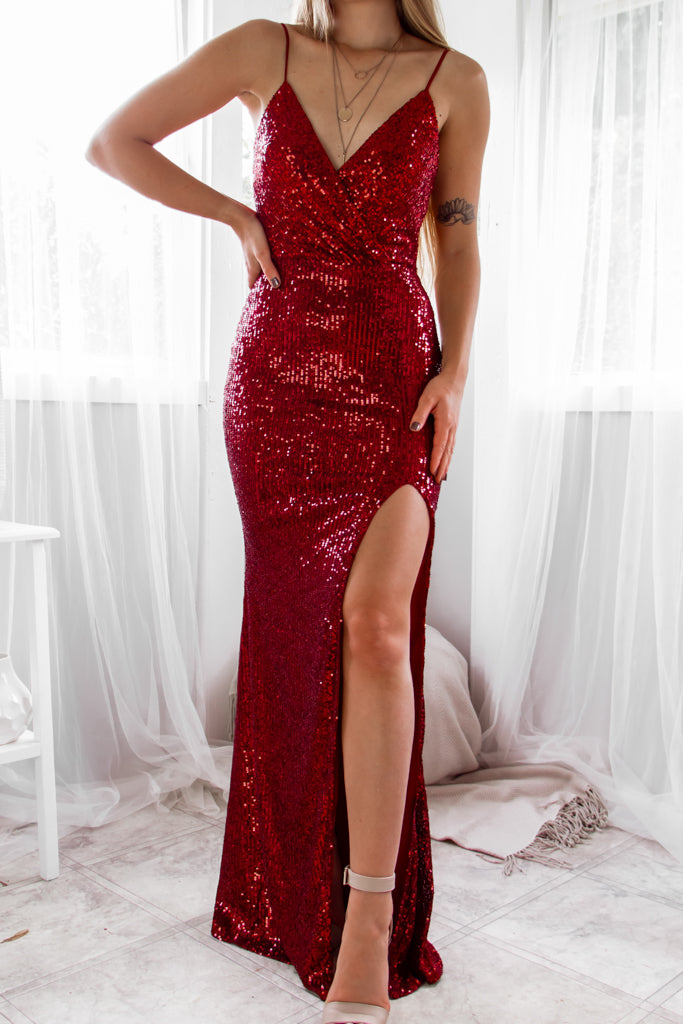 Liana Sequin Gown - Ruby