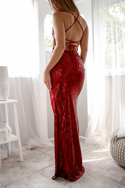 Milan Sequin Gown - Ruby
