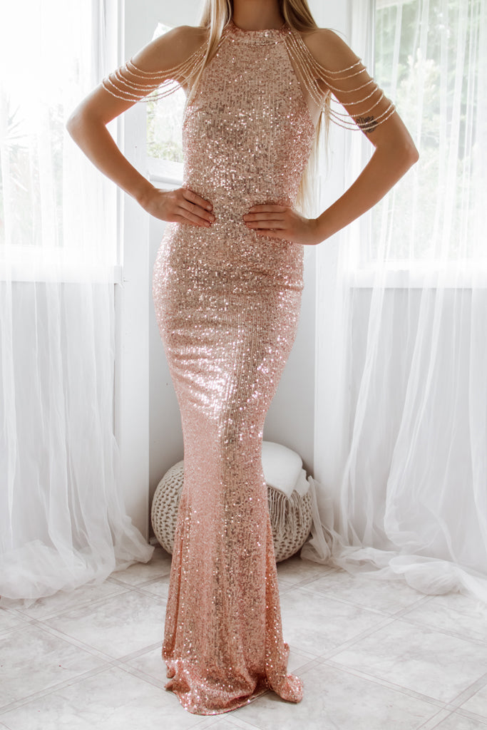 Cristelle Sequin Gown - Rose Gold