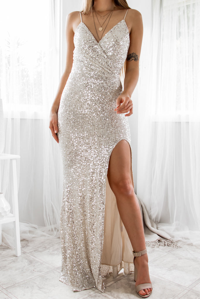 Liana Sequin Gown - Silver