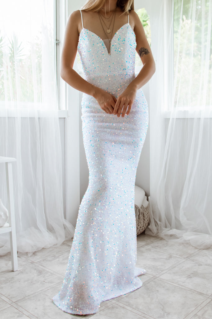 Jazelle Sequin Gown - White