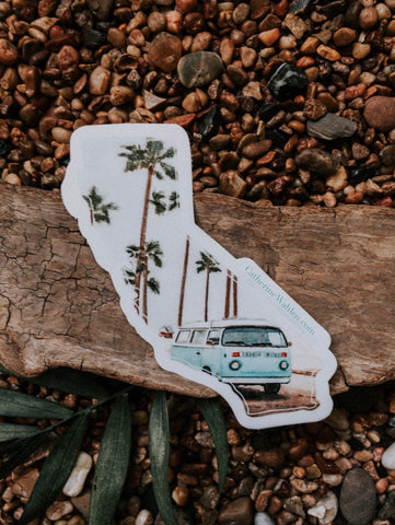 Sticker with VW bus on the beach