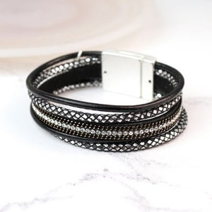 Multi Strand Black Leather Crystal Bracelet
