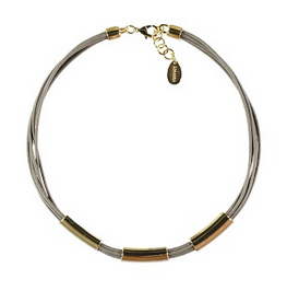 Mink Necklace with Three Gold Details