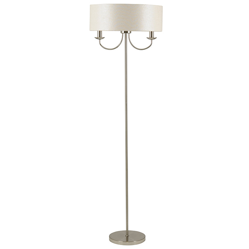 2 Light Silver Glitter Shade Floor Lamp