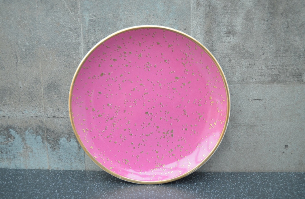 Pink and Rose Gold Dots Trinket Dish