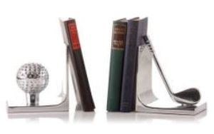 Silver Golf Bookends