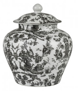 V&A Charcoal Peacock Toile Ginger Jar