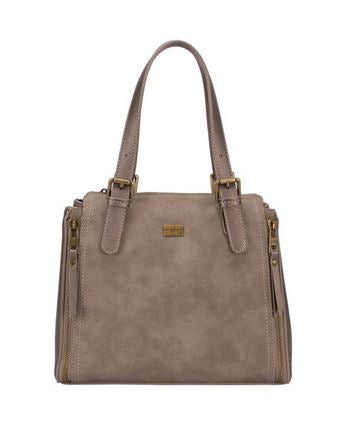 Handbag with 2 zip details in Taupe
