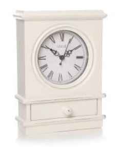 Pya Mantel Clock with Drawer White
