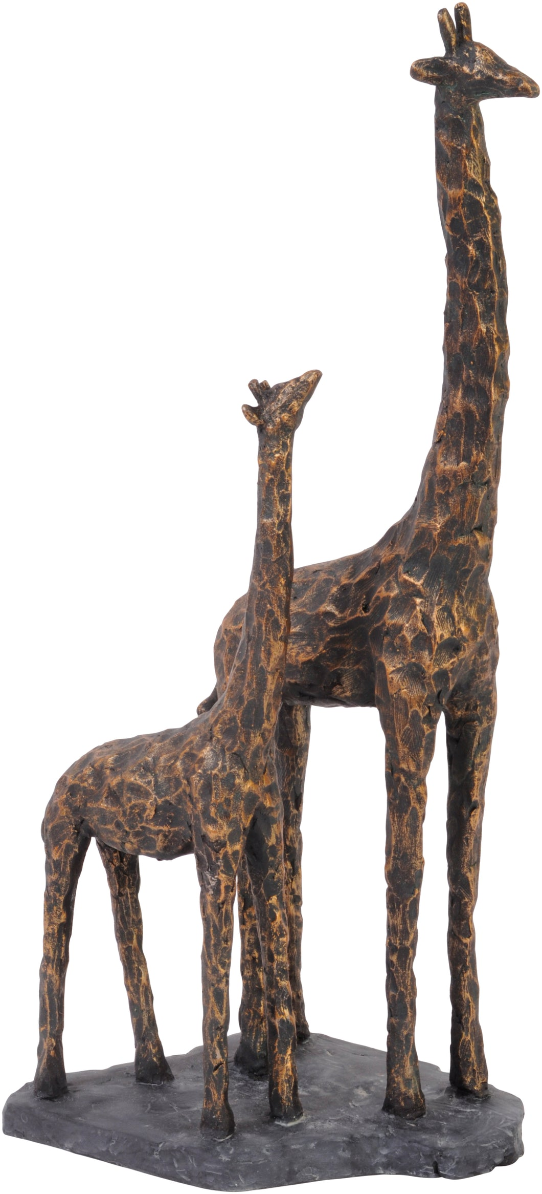 Antique Bronze Mother and Baby Giraffe Resin