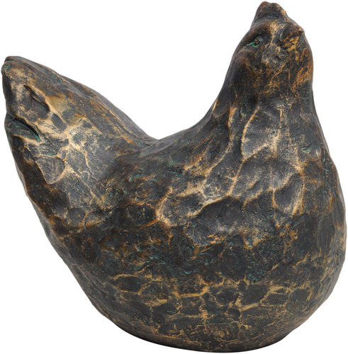 Antique Bronze Hen Sculpture