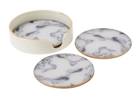 Marino Set Of 4 Burnished Marble Effect Coasters
