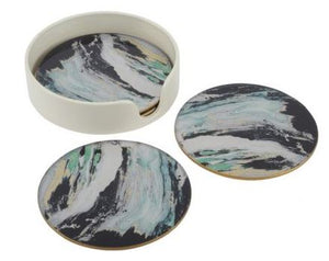 Marino Set Of 4 Green Marble Effect Coasters