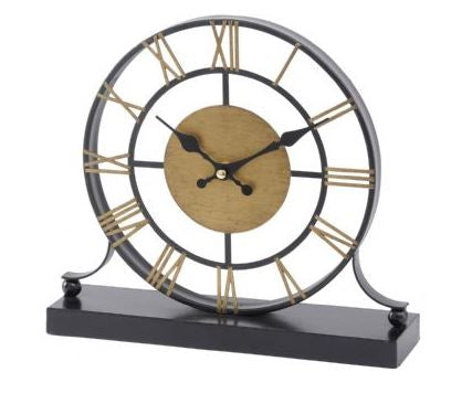 Black and Antique Brass Skeleton Mantel Clock