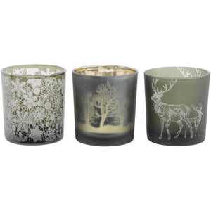 Small Green Festive Tealight Holders