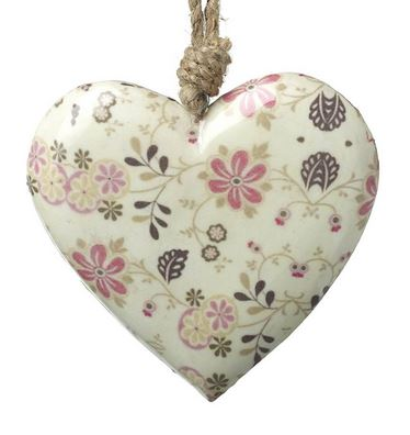 Large Floral Print Heart