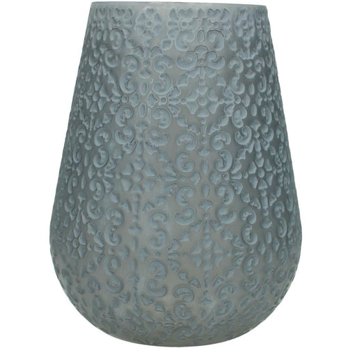 Large Patterned Glass Candle Holder