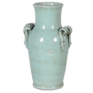 Aquamarine Twist Handle Ceramic Vase