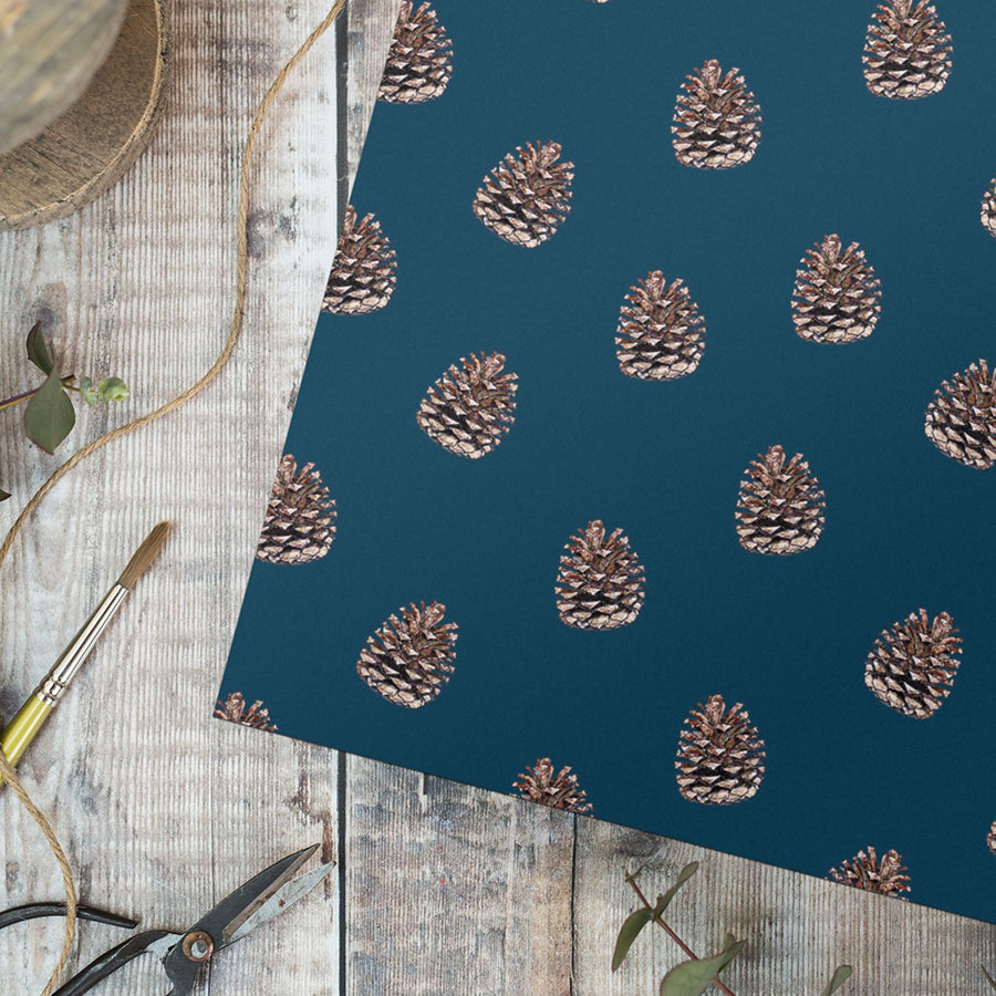 Pine cones on blue – gift wrap