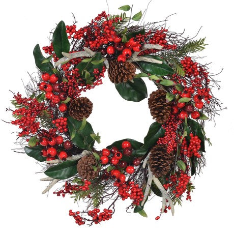 Antler Berry and Cone Wreath