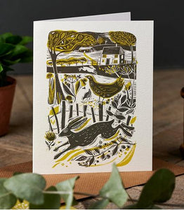 Running Hare in the Countryside card