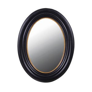 Medium Black and Gold Oval Mirror