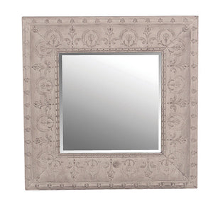 Square Grey Metal Mirror