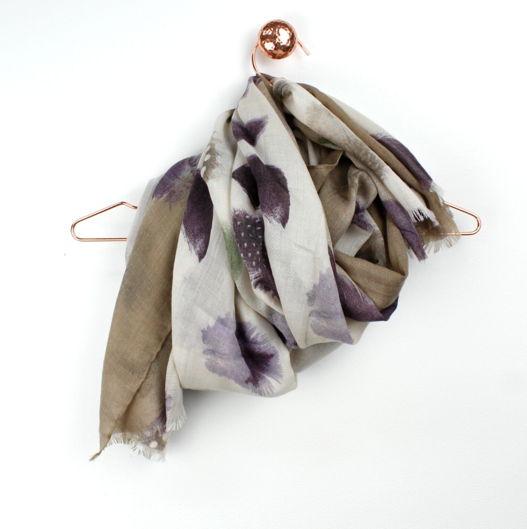 Beige Feather Scarf