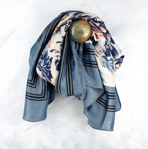 Silk Feel Blue Border Scarf