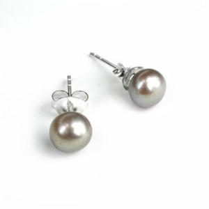 Grey Freshwater Pearl Stud Earrings