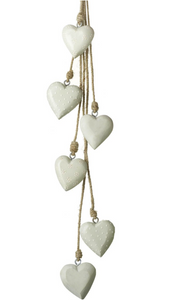 Hanging Heart x6 Grey