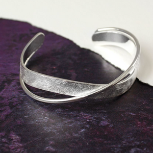 Scratched Silver Plated Twist Bangle