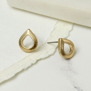 Teardrop Studs in Worn Gold