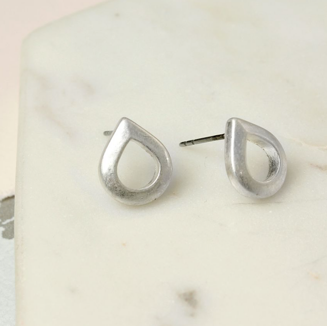 Teardrop Studs in Worn Silver
