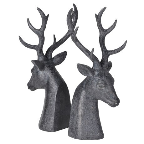 Black Deer Head Bookends