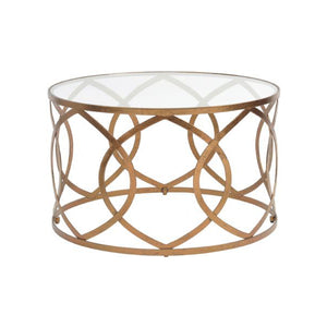 Athos Copper Leaf Round Coffee Table