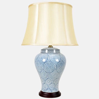 White and Blue Ring Pattern Lamp