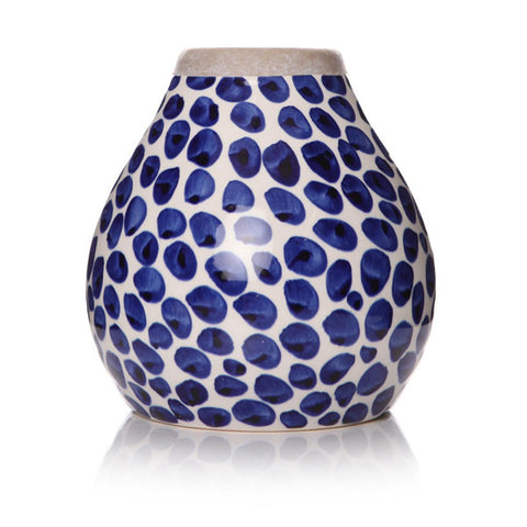 Blue and White Dot Curved Vase