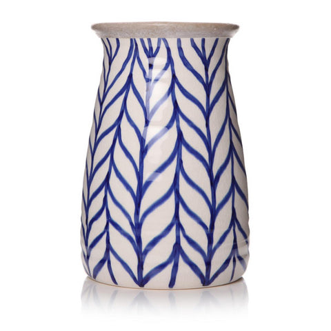 Blue and White Feather Design Vase