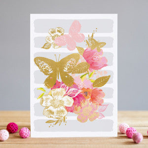 Gold Butterfly and Flower Card