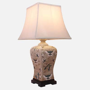Pale Green Butterfly Design Square Vase Lamp