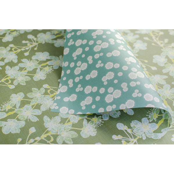 Green Cherry Blossom Gift Wrap - Reverse