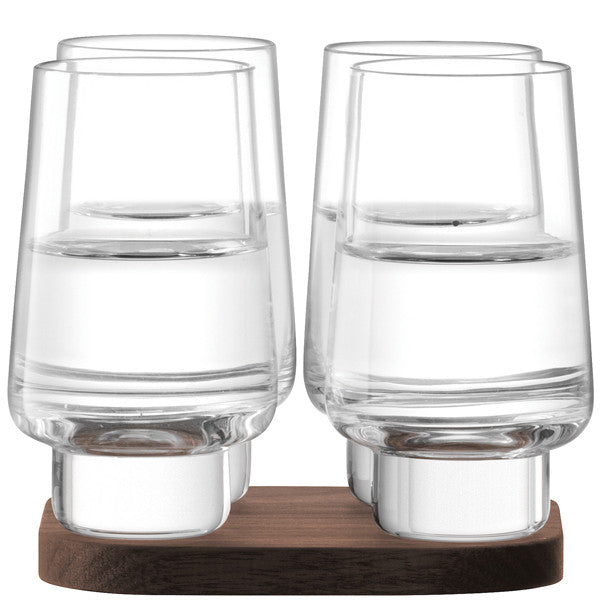 City Bar Vodka Glass x 4 and Walnut Coaster