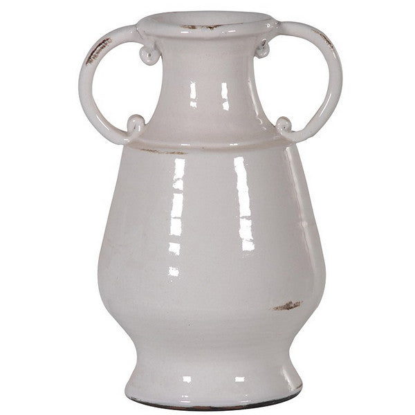 Off White Vase with Handles